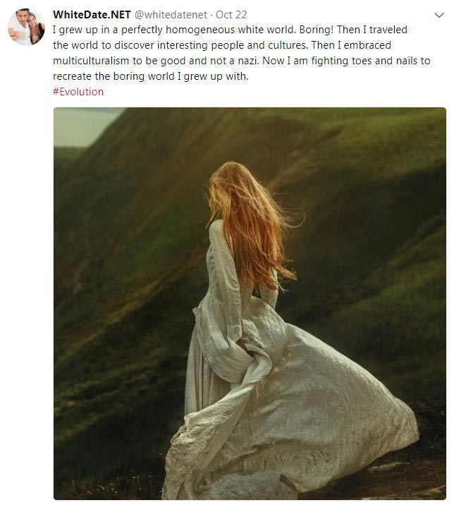 White woman wishing to recreate the lost white world