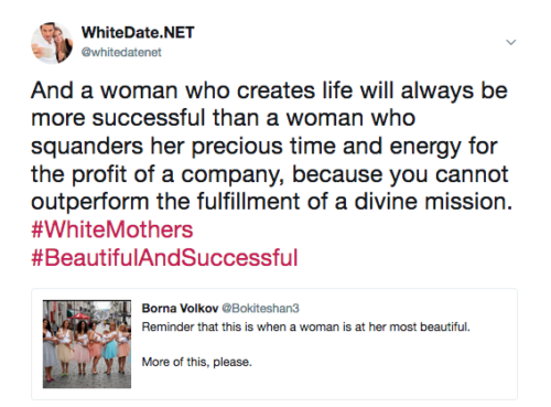 Becoming a mother is fulfilling a devine mission, meet white singles