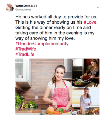 Trad Wife cooking for her white husband and family