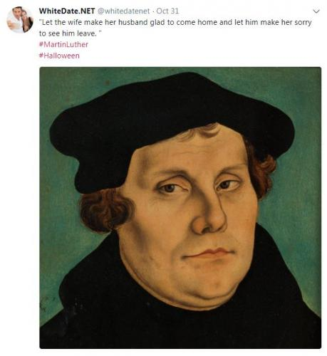 Martin Luther about the traditional values for a white couple