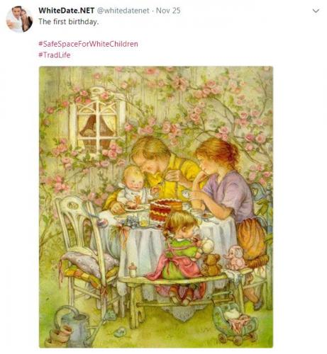 Drawing for children displaying white family celebrating the first birthday of their white baby