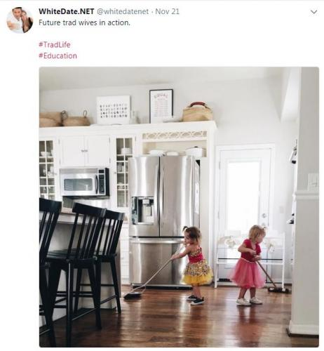Two little white future trad wives wiping the floor