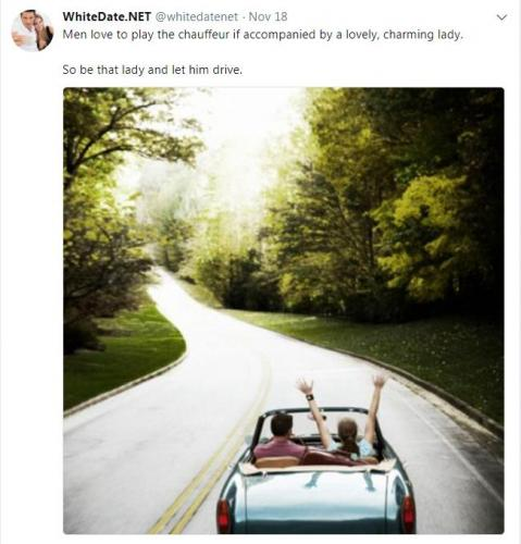 A young happy white couple driving in a cabriolet, altright dating