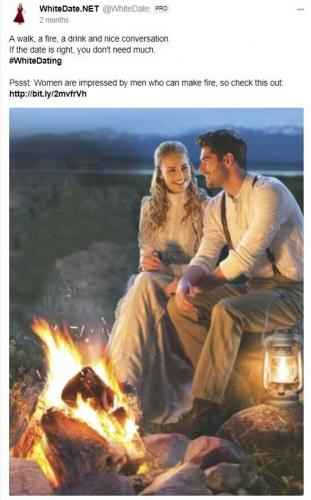 White couple sitting next to a romantic fire, altright dating site