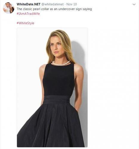 Blonde woman dressed in a decent black dress