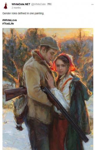 Eastern European couple on a painting, trad life