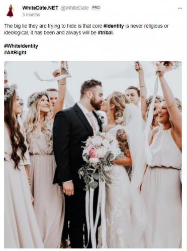 Happy white couple celebrated by their guests