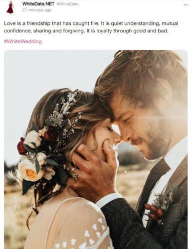 white love, white couple on theri wedding day